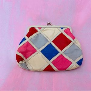 VINTAGE GV 1980s Leather Patchwork Coin Purse